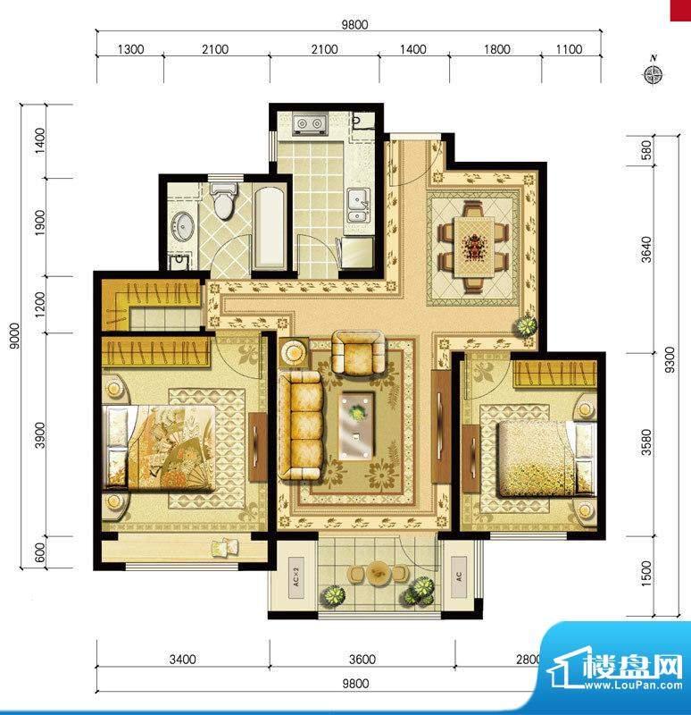 金地仰山西区B2户型 2室2厅1卫面积:91.00平米
