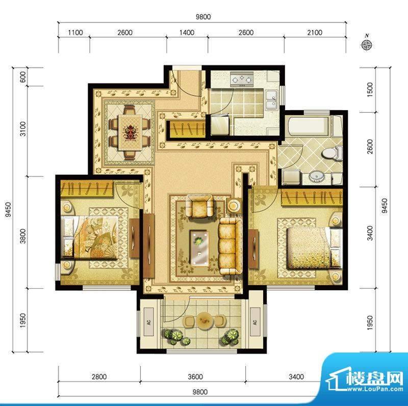 金地仰山西区B3户型 2室2厅1卫面积:89.00平米