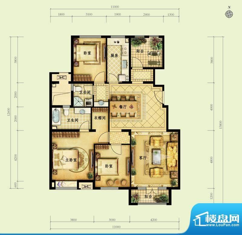 金地仰山D3户型图 3室2厅2卫1厨面积:143.00平米