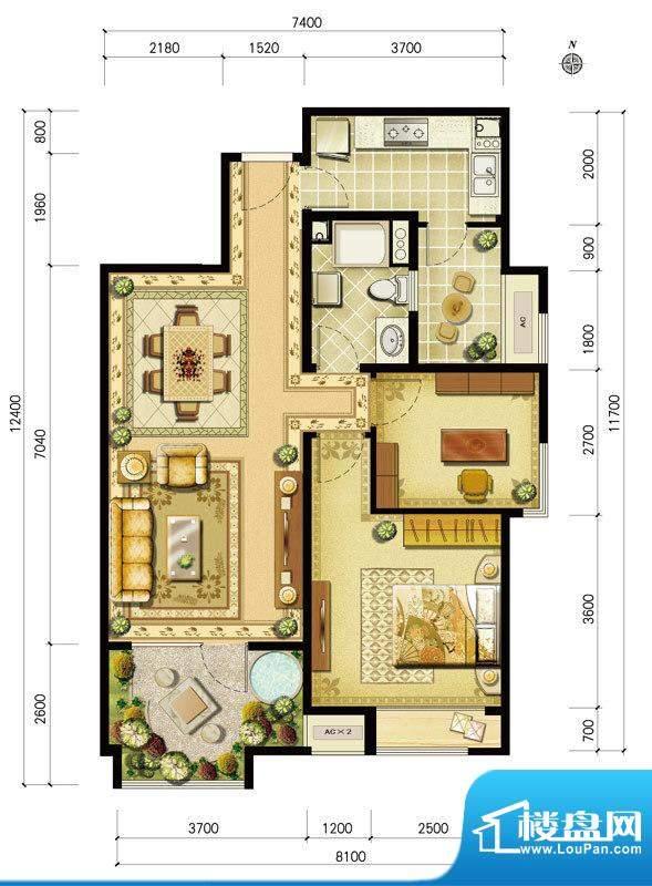 金地仰山西区B4户型 2室2厅1卫面积:97.00平米