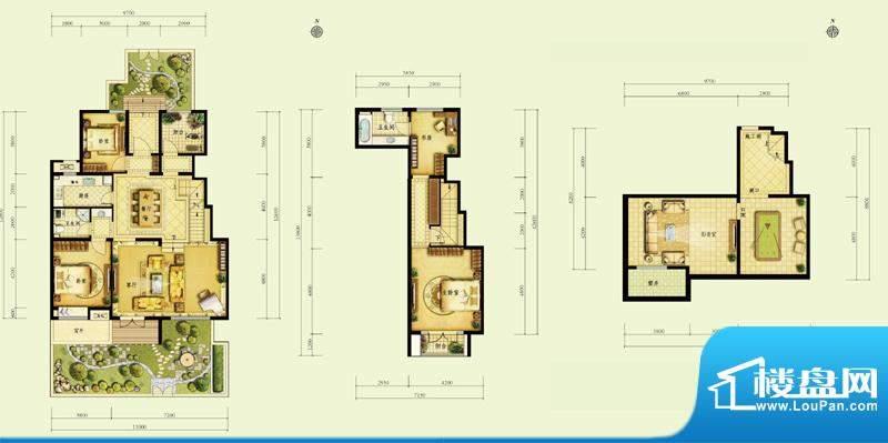 金地仰山D1户型图4室2厅2卫1面积:172.00平米