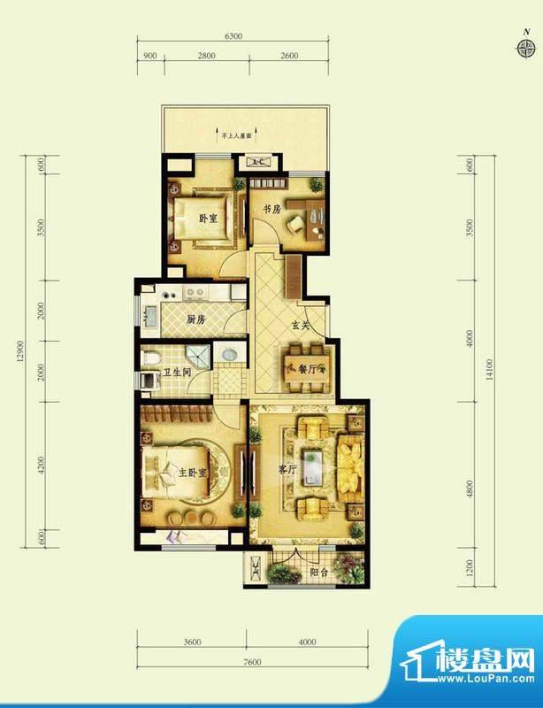 金地仰山F3户型图 3室2厅1卫1厨面积:96.00平米