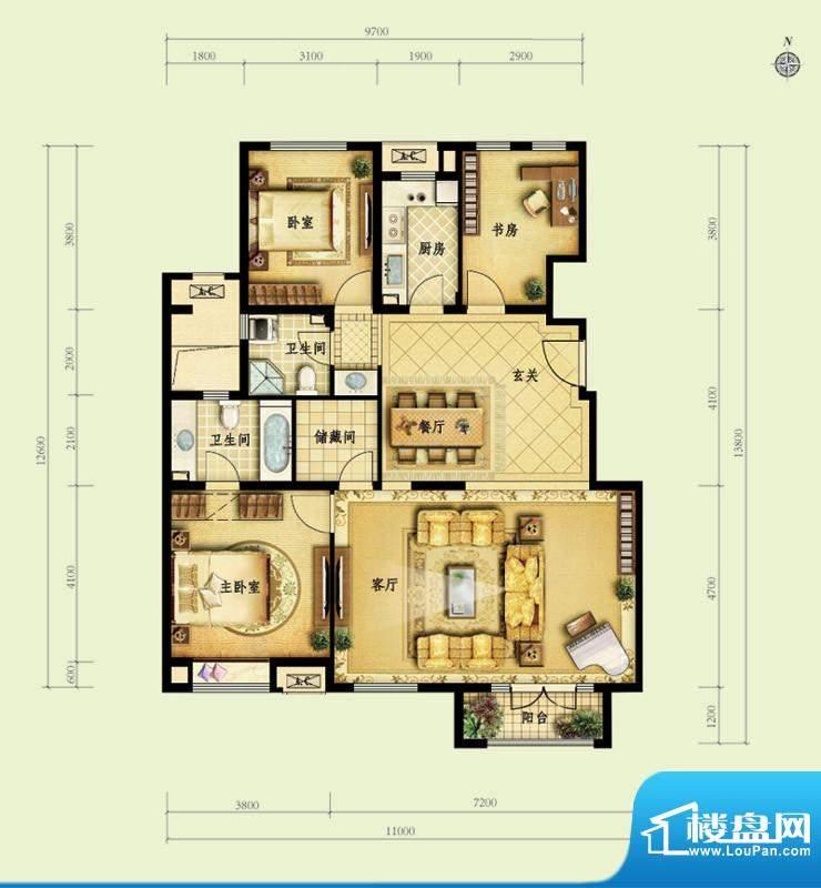 金地仰山C3户型图 3室2厅2卫1厨面积:137.00平米