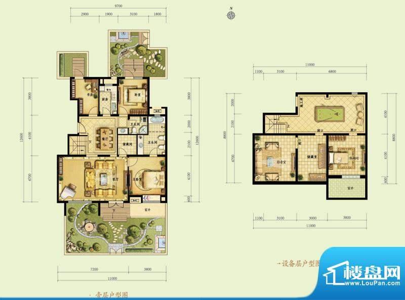 金地仰山C1-1户型图 3室2厅2卫面积:137.00平米