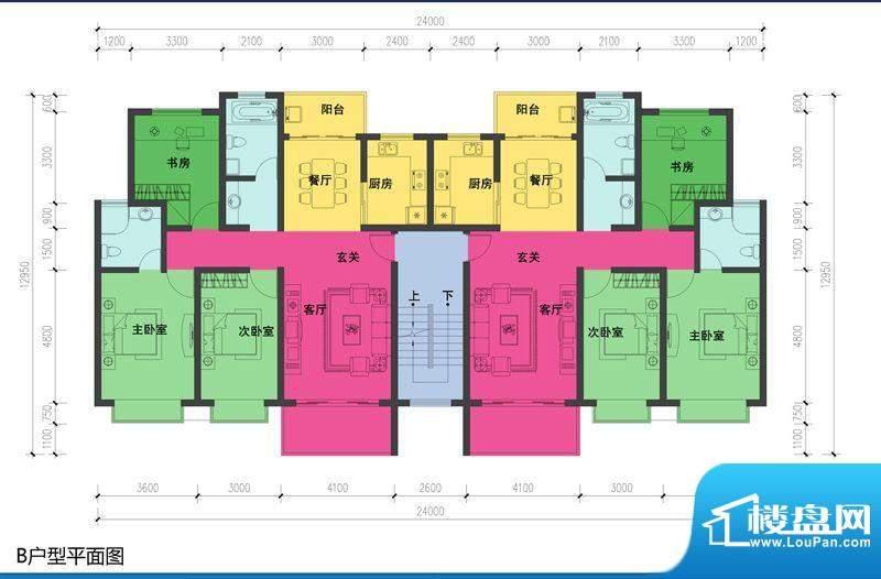 森林都市B户型图 3室2厅2卫1厨面积:126.58平米