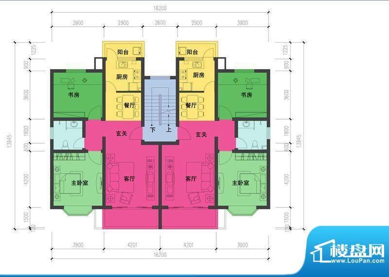 森林都市D户型图 2室2厅1卫1厨面积:87.39平米