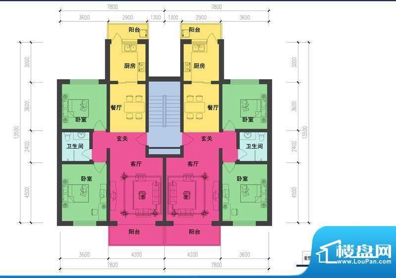 森林都市F2户型图 2室2厅1卫1厨面积:91.70平米