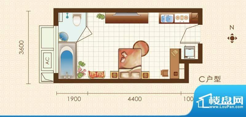 金科·巴登假日1号楼c户型图 1面积:38.04平米