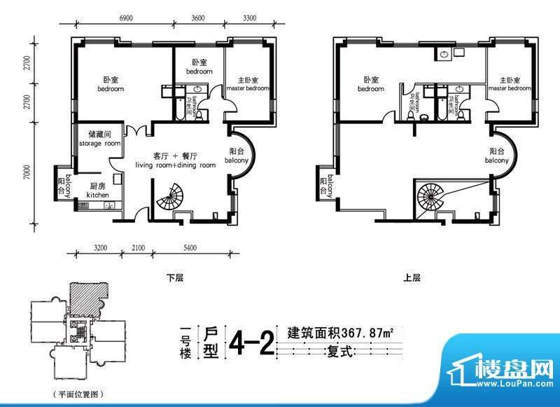 一瓶·四和院住宅4-2户型 5室2面积:367.87平米