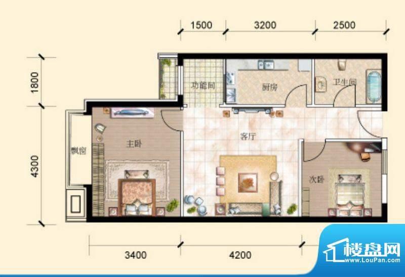 珠江国际公馆公馆77㎡户型图 2面积:77.00平米