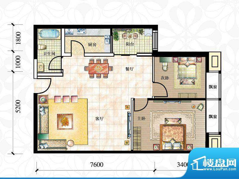 珠江国际公馆2居户型 2室2厅1卫面积:104.00平米