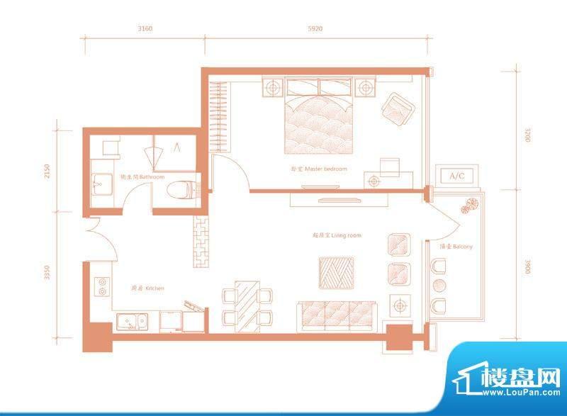 建邦·礼仕阁C户型 1室2厅1卫1面积:84.00平米