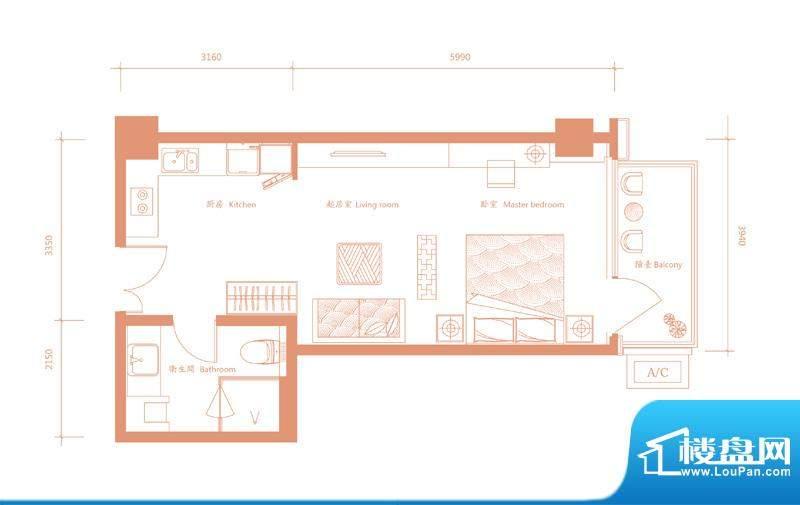 建邦·礼仕阁D′户型 1室1卫1厨面积:58.00平米