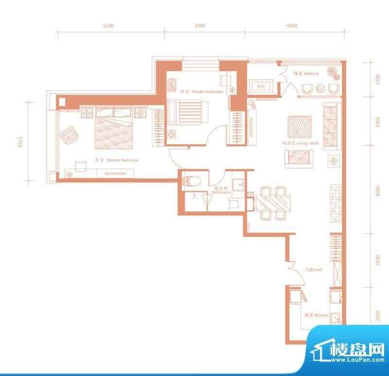 建邦·礼仕阁B户型 2室2厅2卫1面积:138.00平米