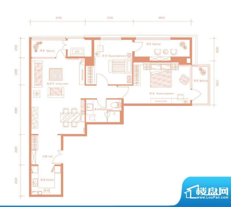 建邦·礼仕阁A户型 2室2厅2卫1面积:150.00平米