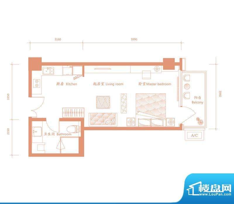 建邦·礼仕阁D1户型 1室1卫1厨面积:58.00平米