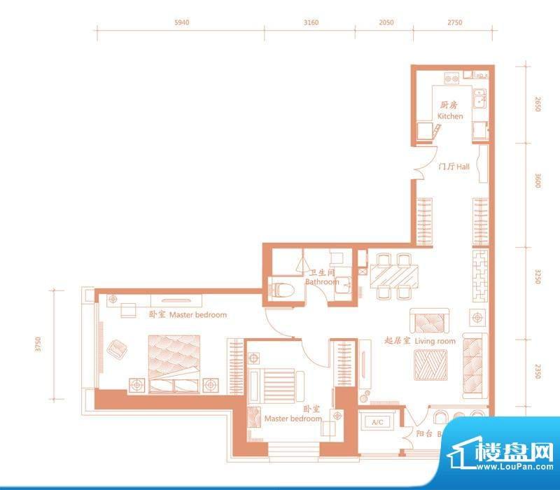 建邦·礼仕阁E户型 2室2厅1卫1面积:135.00平米