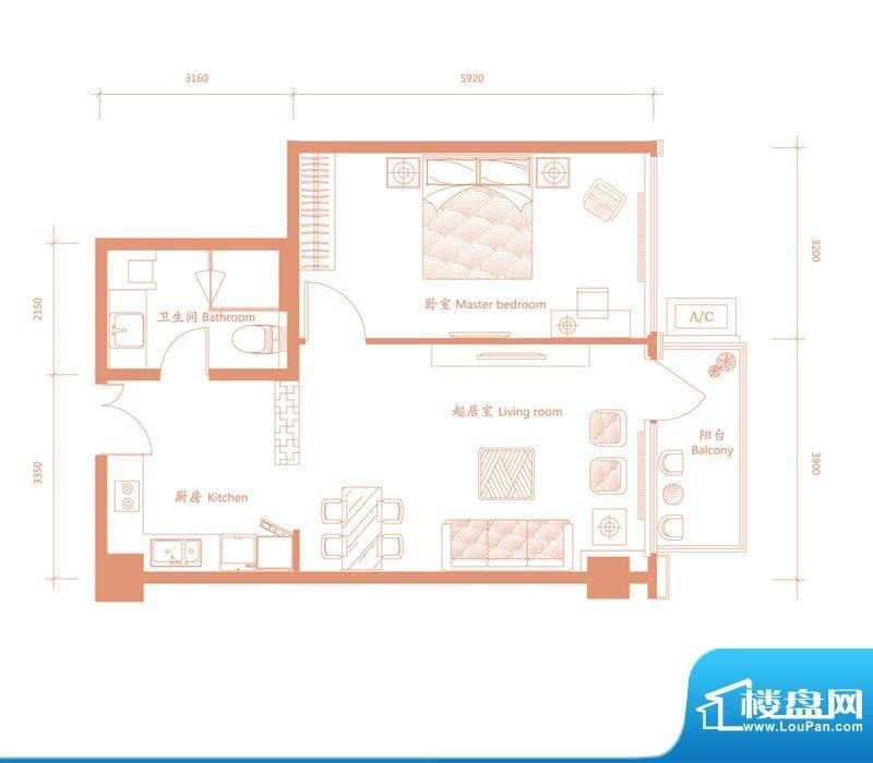 建邦·礼仕阁C户型 1室1厅1卫1面积:85.00平米