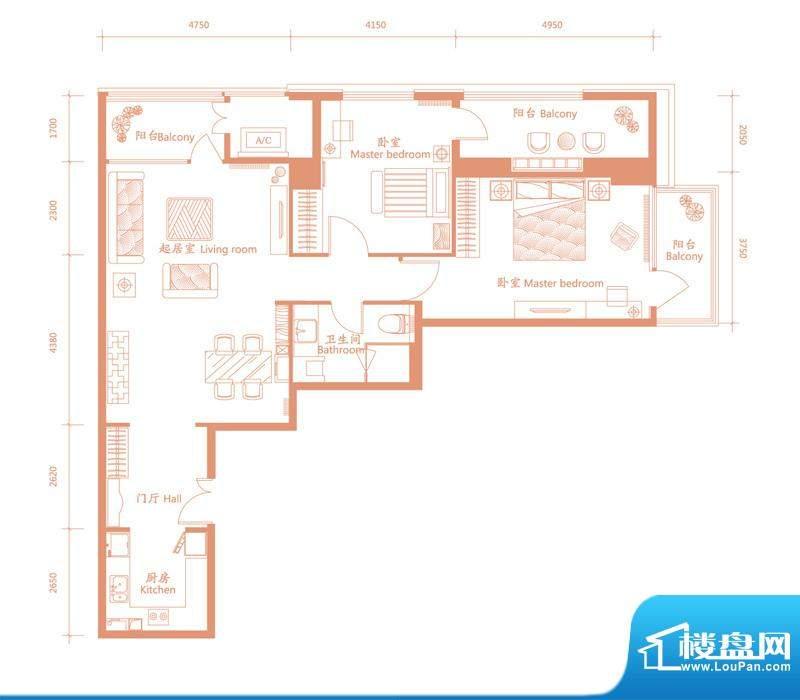 建邦·礼仕阁A户型 2室2厅1卫1面积:150.00平米