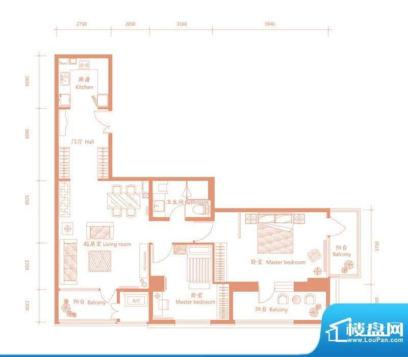 建邦·礼仕阁F户型 2室2厅1卫1面积:150.00平米