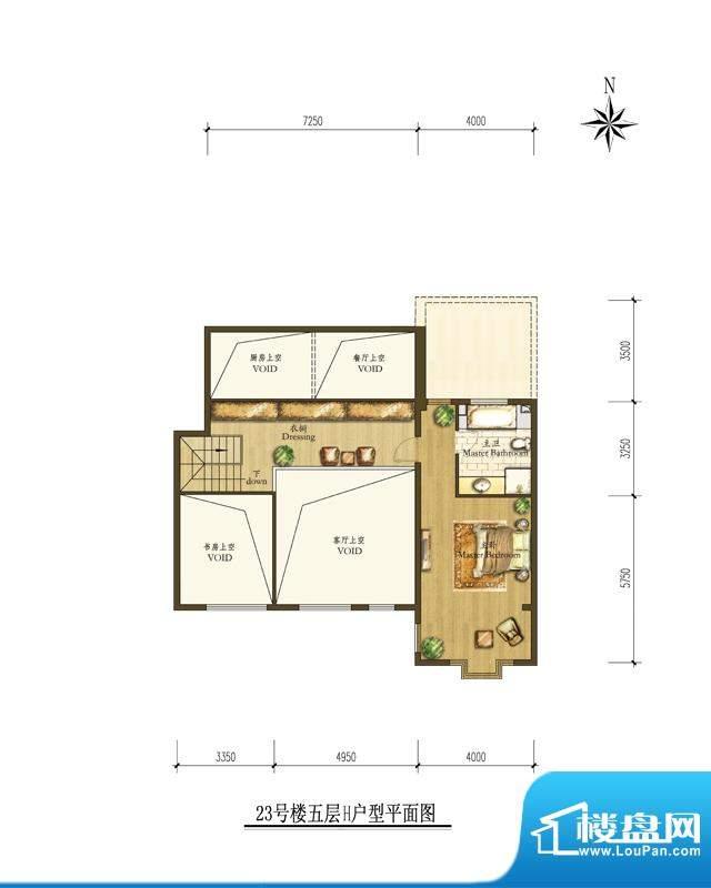 海棠公社23#5层H户型 1室1厅1卫