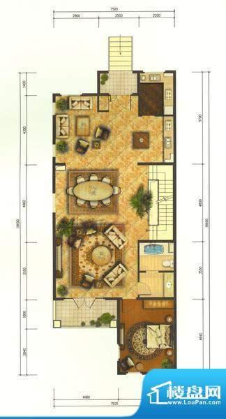龙湖·香醍溪岸V-T首层 1室3厅面积:411.00平米