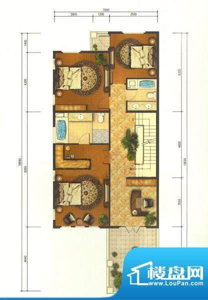 龙湖·香醍溪岸V-T二层 3室1厅面积:411.00平米