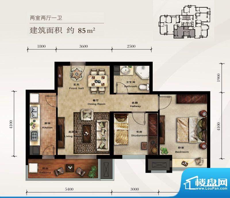 美林君渡E2户型图 2室2厅1卫1厨面积:85.00平米