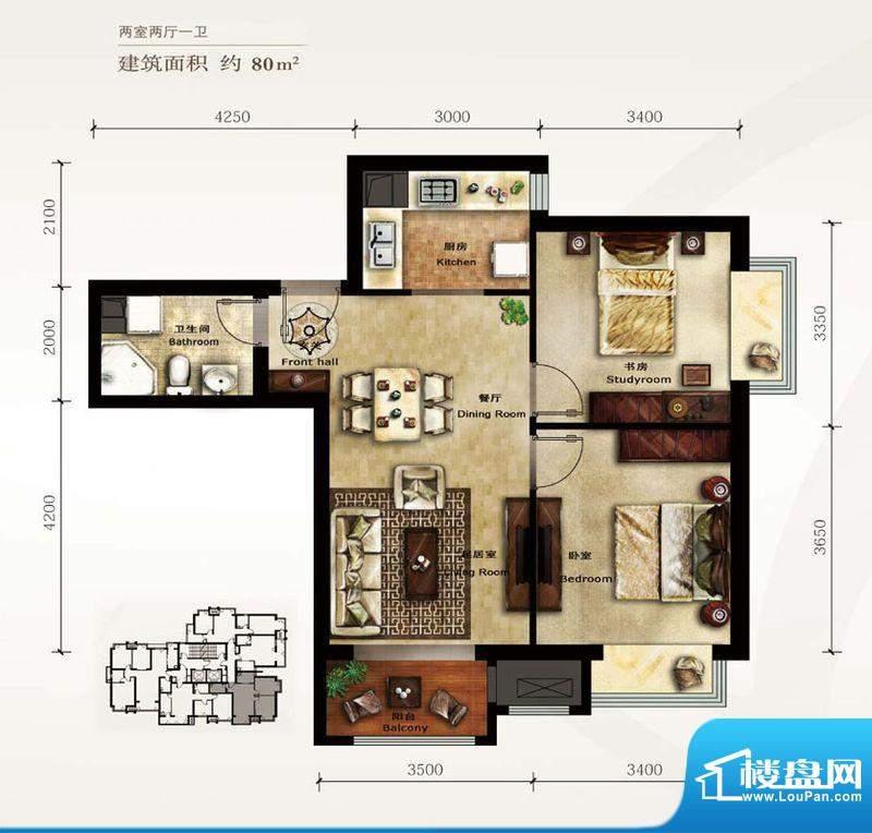 美林君渡E3户型图 2室2厅1卫1厨面积:80.00平米