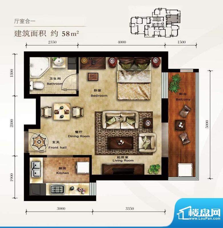 美林君渡E4户型图 1室1卫1厨面积:58.00平米
