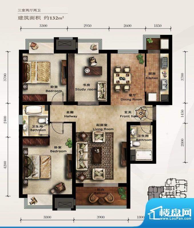 美林君渡E1户型 3室2厅2卫1厨面积:132.00平米