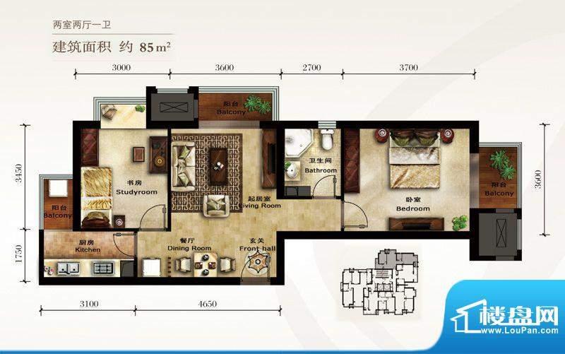 美林君渡E5户型图 2室2厅1卫1厨面积:85.00平米