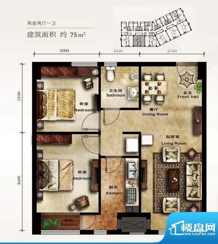 美林君渡F2户型图 2室2厅1卫1厨面积:75.00平米