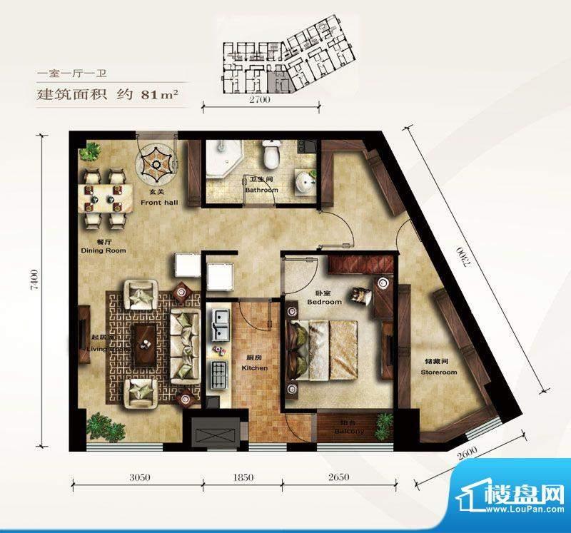 美林君渡F3户型 1室1厅1卫1厨面积:81.00平米