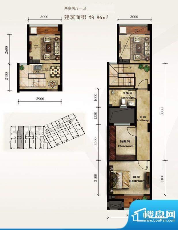 美林君渡F5户型 2室2厅1卫1厨面积:86.00平米