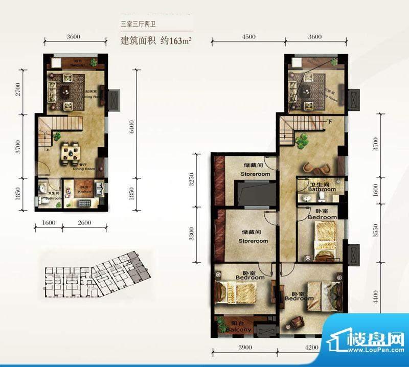 美林君渡F7户型 3室2厅2卫1厨面积:163.00平米