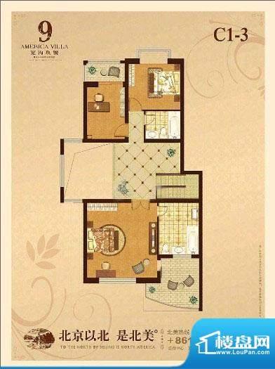 宽沟玖号院C1-3户型图 3室2卫面积:132.00平米
