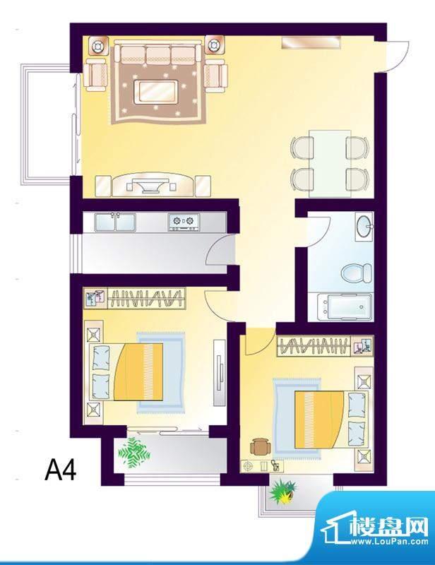 cago寓所A4户型图 2室2厅1卫1厨面积:98.76平米