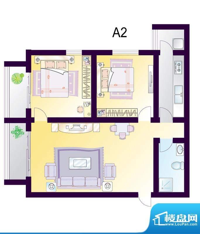cago寓所A2户型图 2室1厅1卫1厨面积:100.84平米