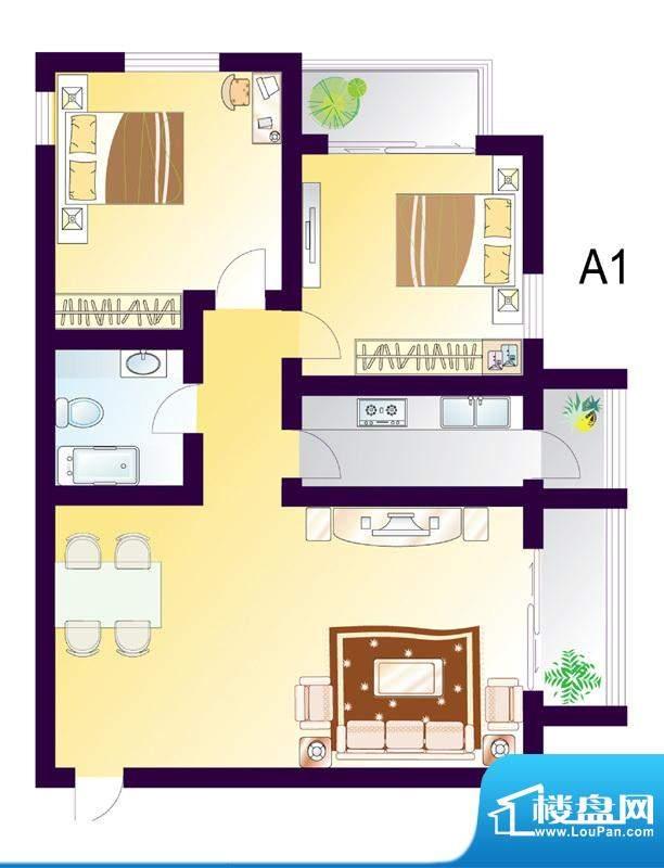 cago寓所A1户型图 2室2厅1卫1厨面积:102.30平米