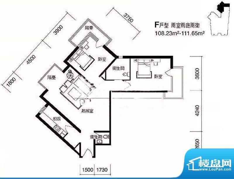 cago寓所F户型图 2室2厅2卫1厨面积:108.23平米