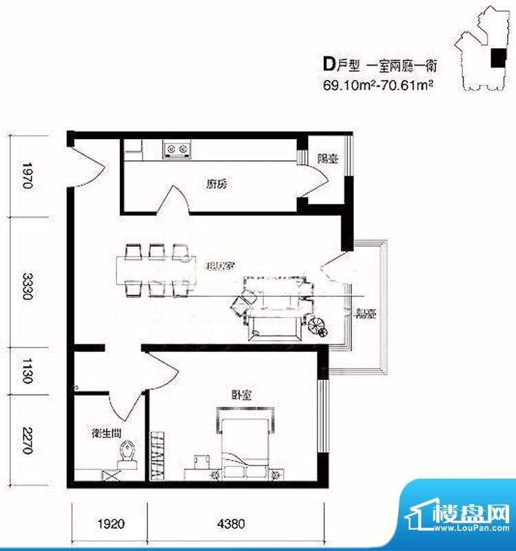 cago寓所D户型图 1室2厅1卫1厨面积:69.10平米