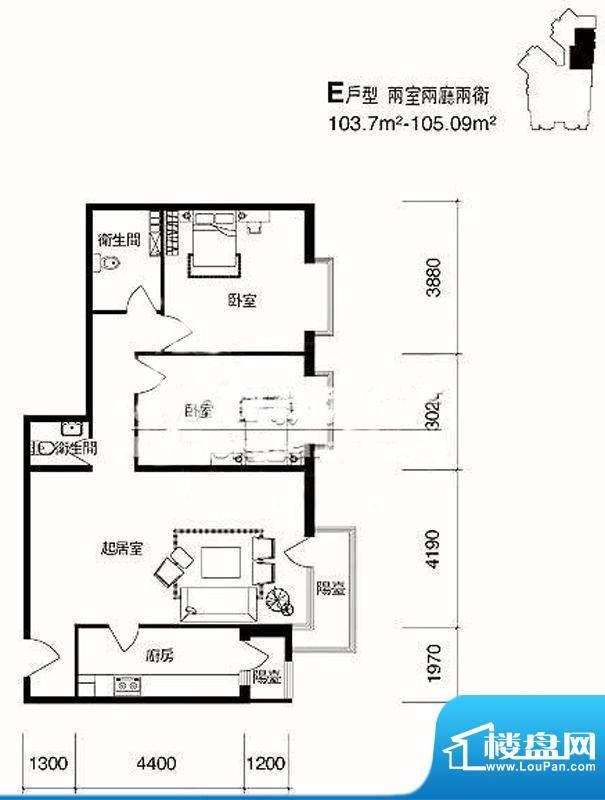 cago寓所E户型图 2室2厅2卫1厨面积:103.70平米