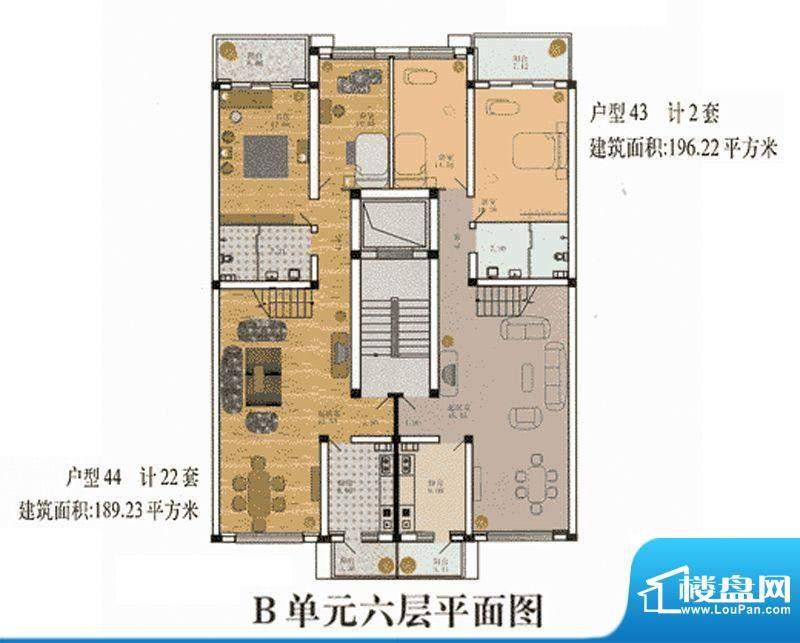 cago寓所B-6层户型图 2室2厅1卫面积:189.23平米
