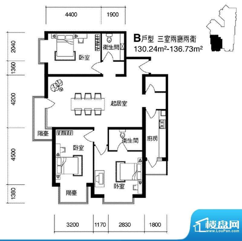 cago寓所B户型图 3室2厅2卫1厨面积:130.24平米