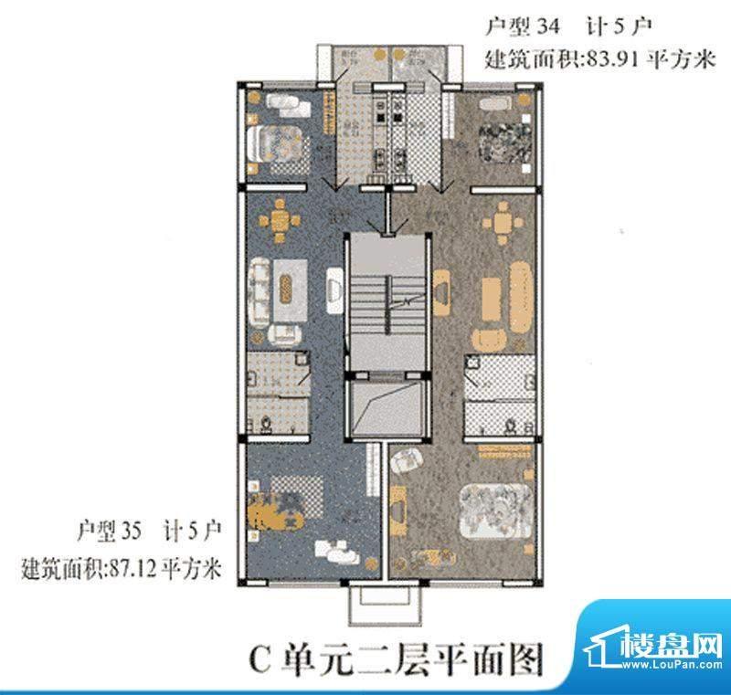 cago寓所C-2层户型图 2室2厅1卫面积:83.91平米