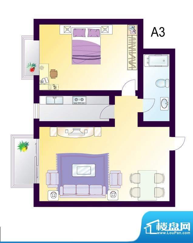 cago寓所A3户型图 1室2厅1卫1厨面积:87.14平米