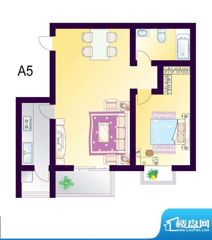 cago寓所A5户型图 1室2厅1卫1厨面积:81.91平米