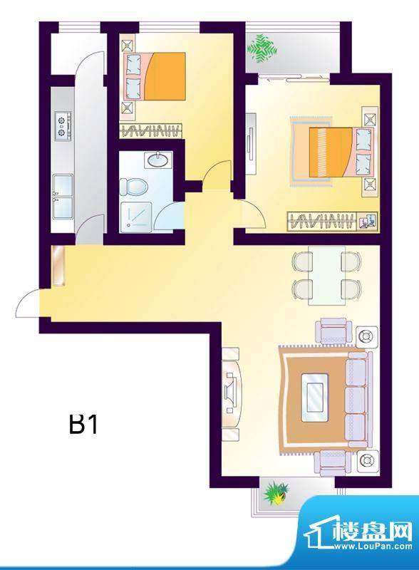 cago寓所B1户型图 2室2厅1卫1厨