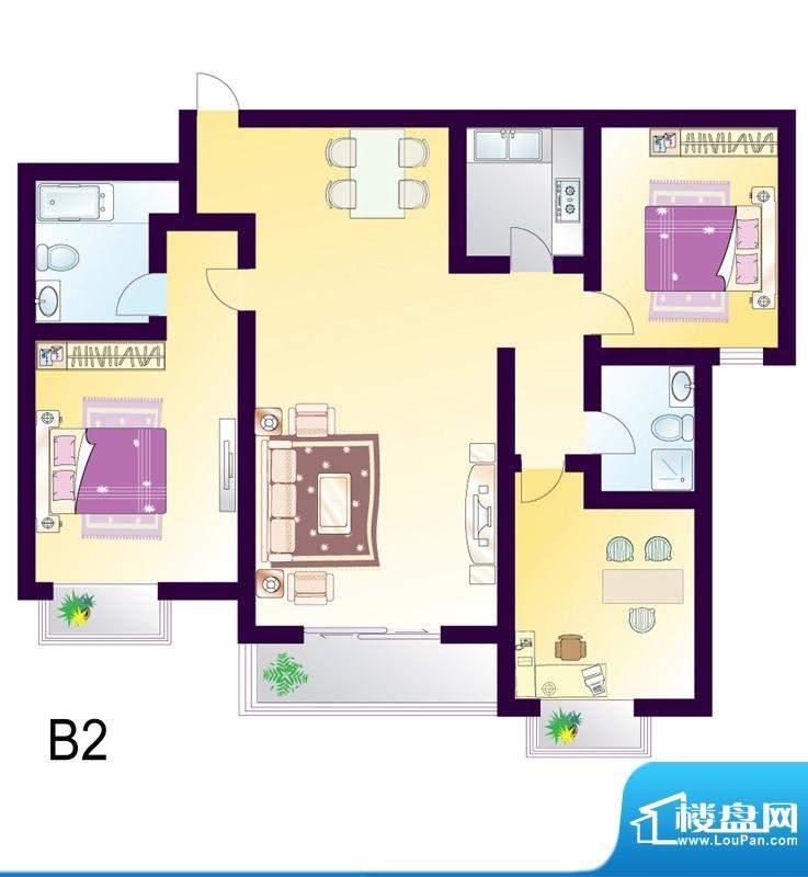 cago寓所B2户型图 3室2厅2卫1厨面积:134.61平米